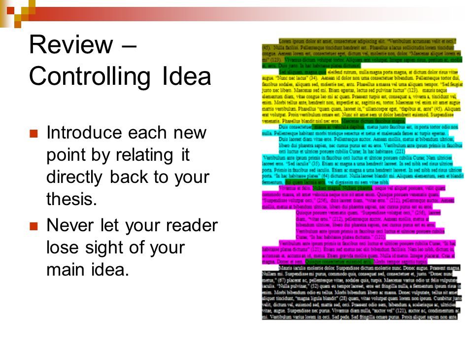 Review – Controlling Idea