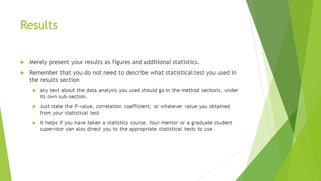 Results Merely present your results as figures and additional statistics.