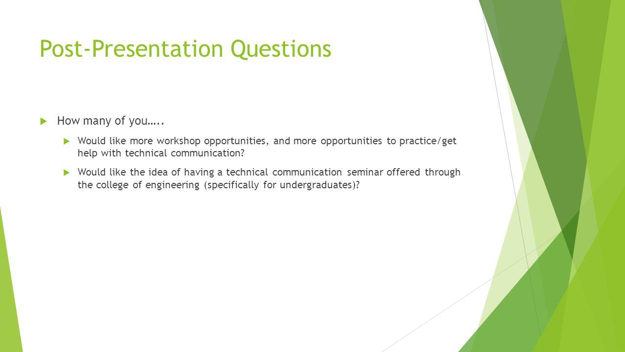 Post-Presentation Questions