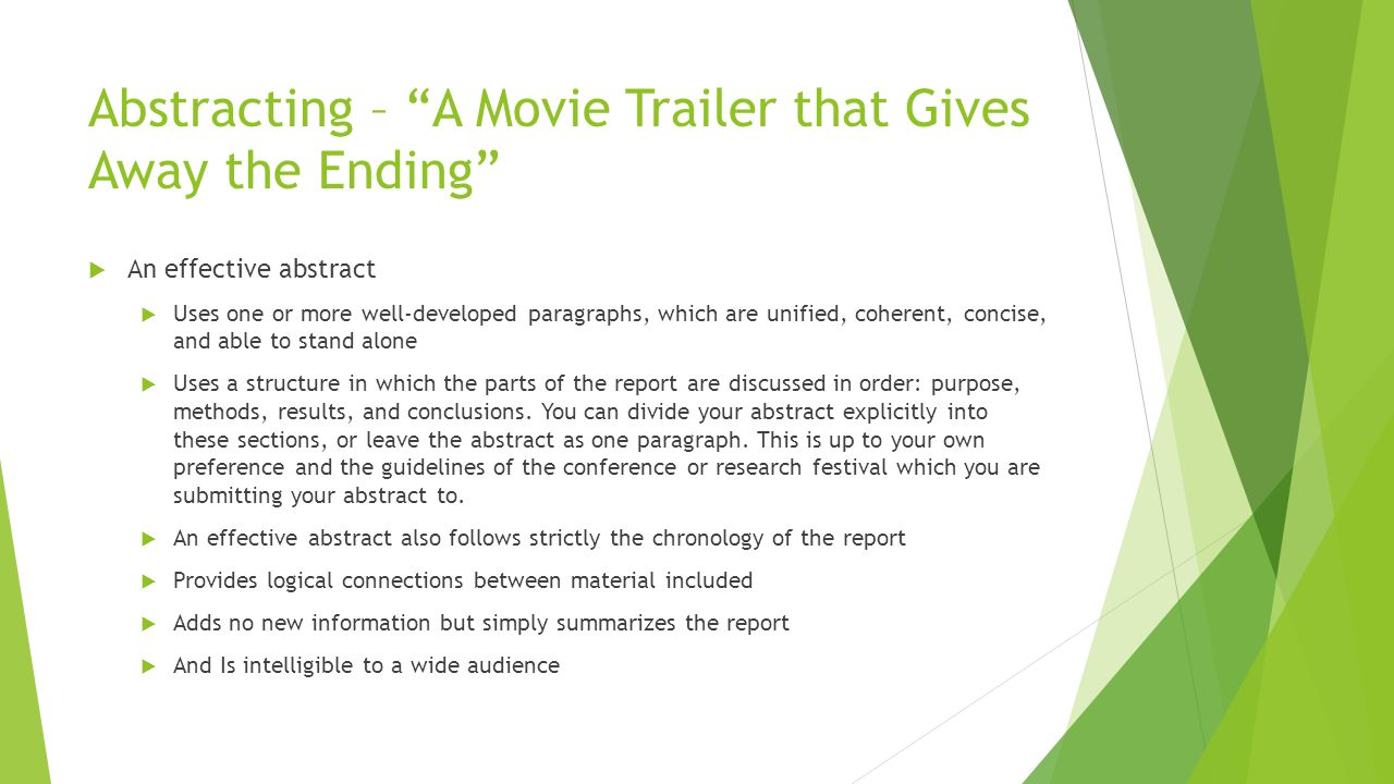 Abstracting – A Movie Trailer that Gives Away the Ending