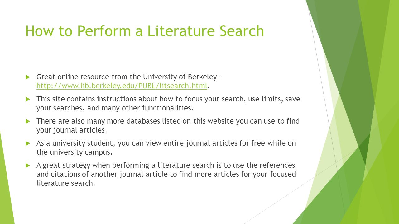 How to Perform a Literature Search