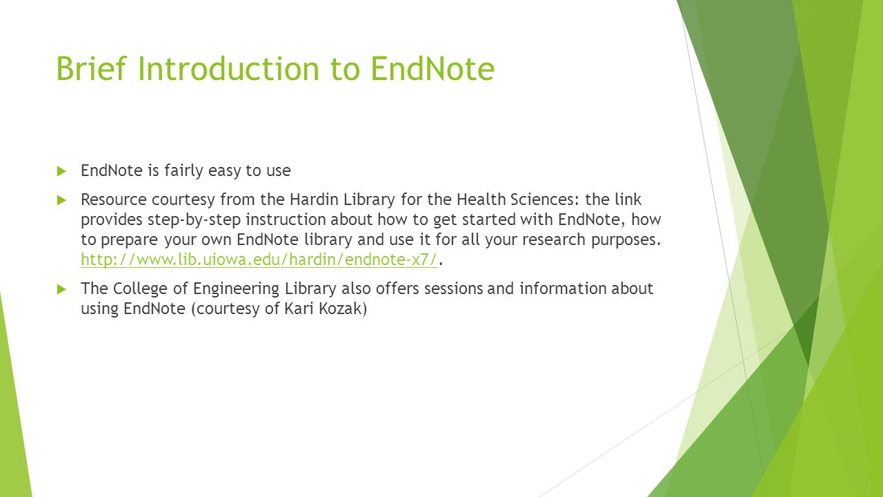 Brief Introduction to EndNote