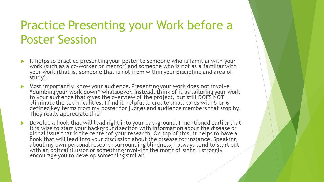 Practice Presenting your Work before a Poster Session