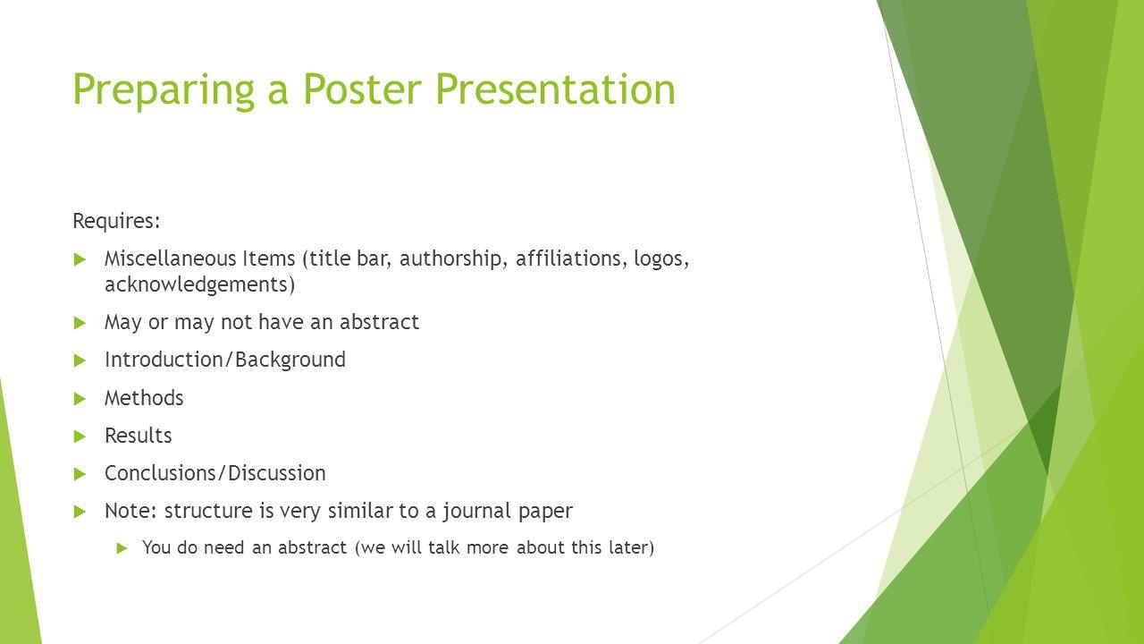Preparing a Poster Presentation