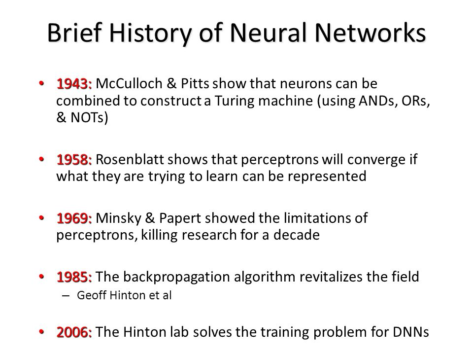 Brief History of Neural Networks