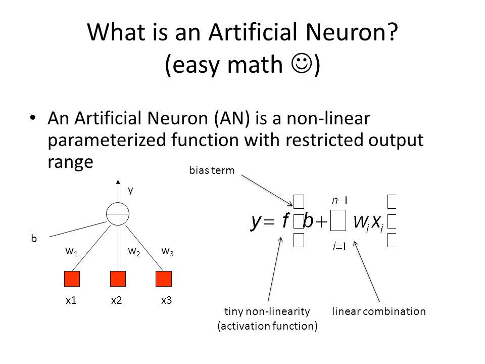 What is an Artificial Neuron (easy math )