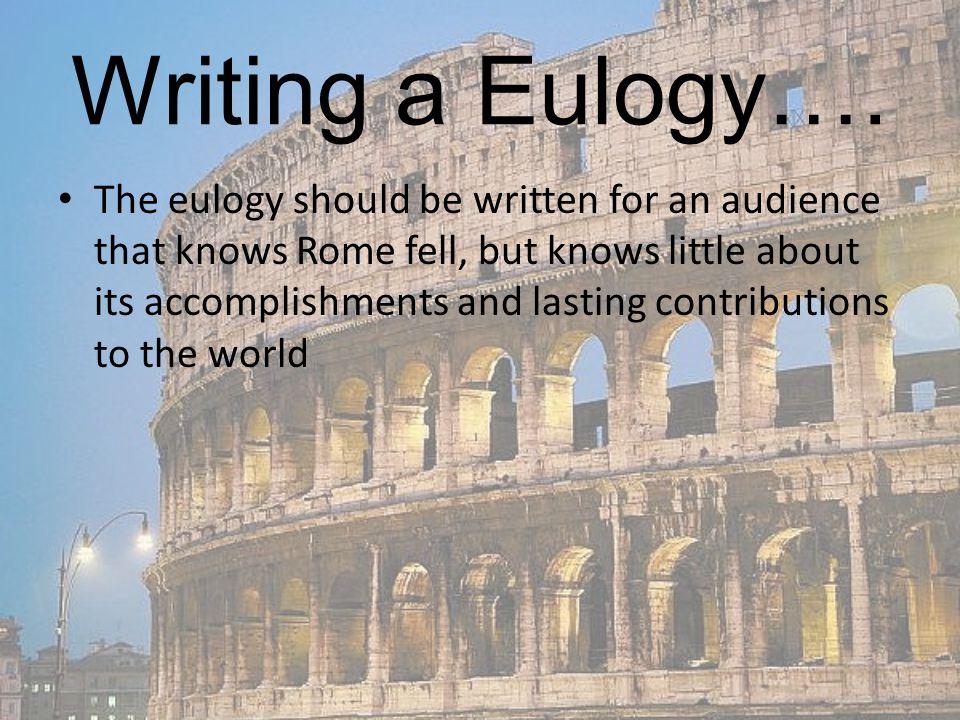 Writing a Eulogy….