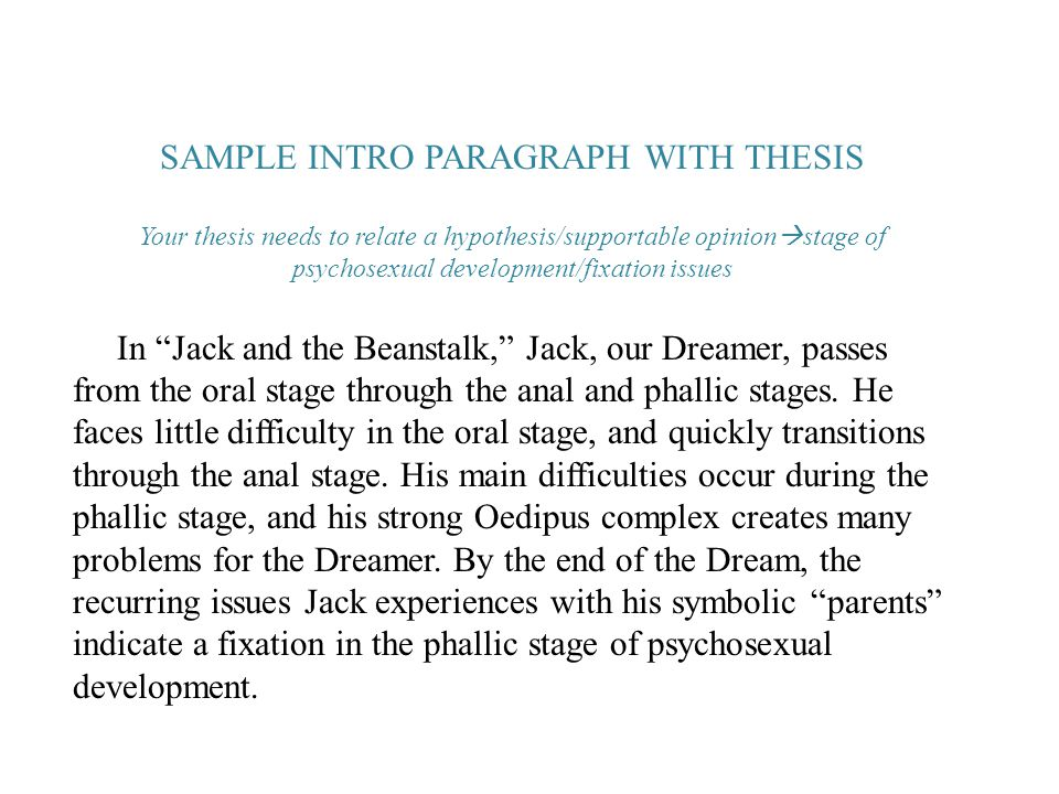 SAMPLE INTRO PARAGRAPH WITH THESIS