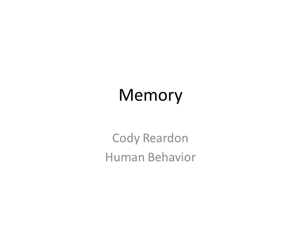 Cody Reardon Human Behavior