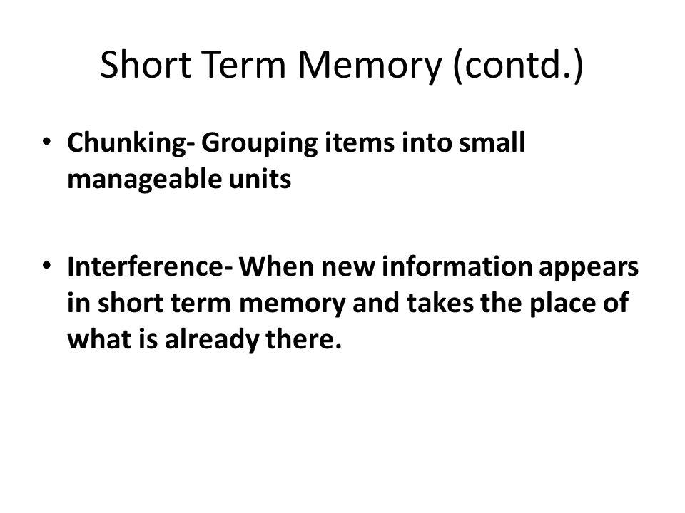 Short Term Memory (contd.)