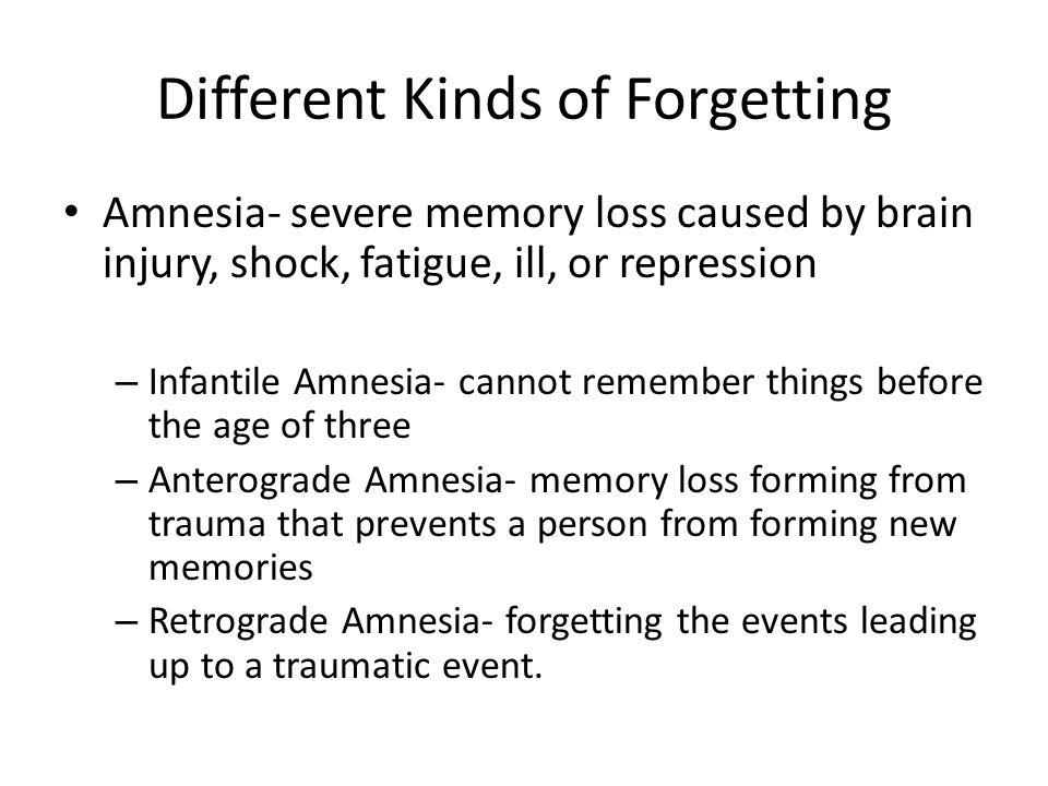 Different Kinds of Forgetting