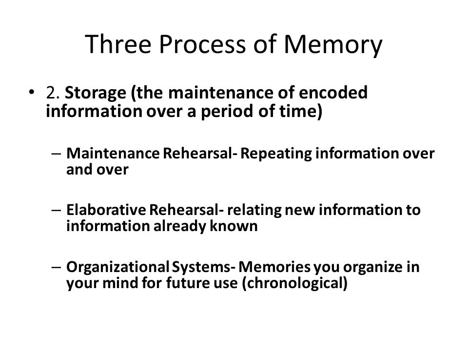 Three Process of Memory
