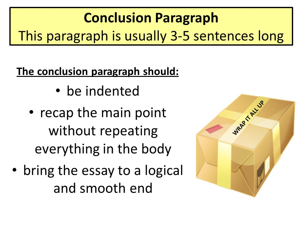 Conclusion Paragraph This paragraph is usually 3-5 sentences long