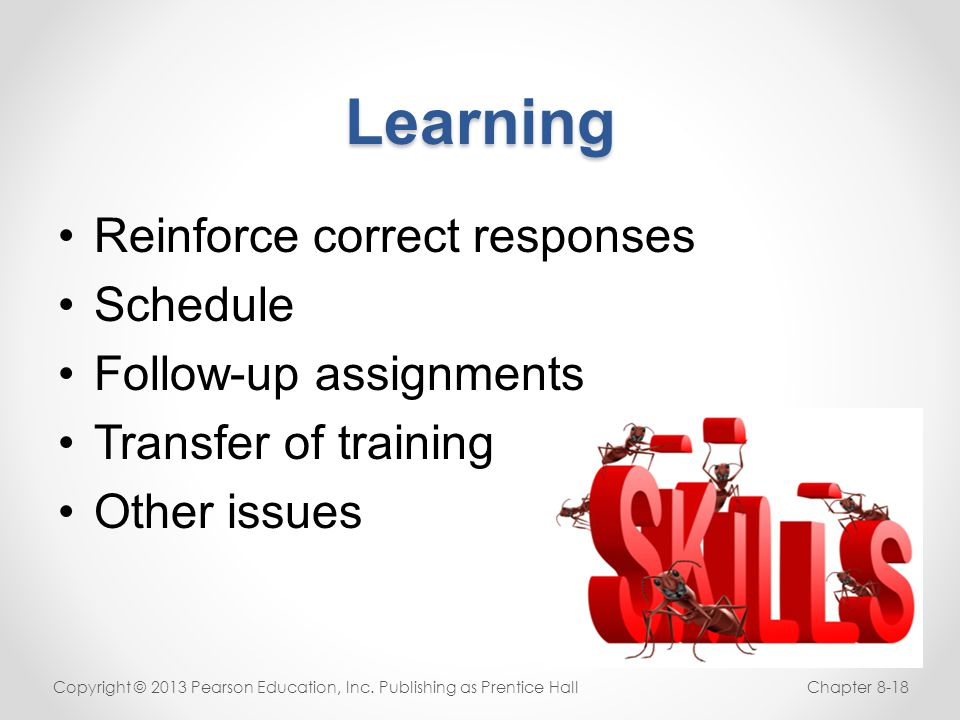 Learning Reinforce correct responses Schedule Follow-up assignments