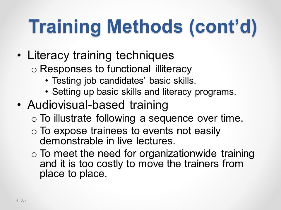Training Methods (cont'd)