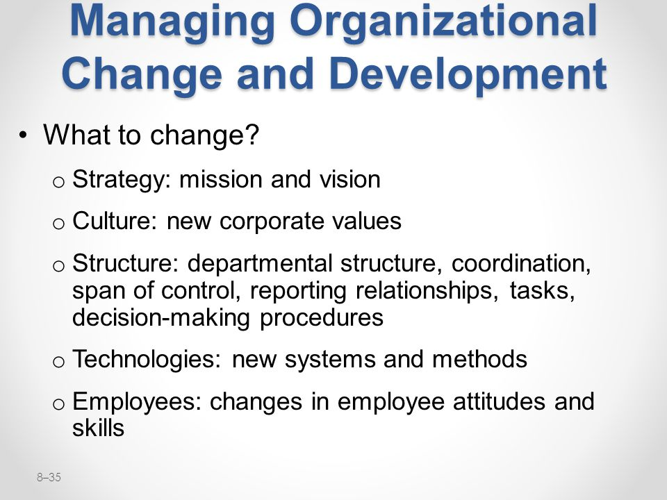 Managing Organizational Change and Development