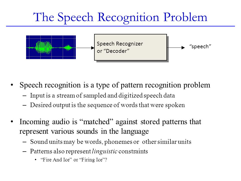 The Speech Recognition Problem