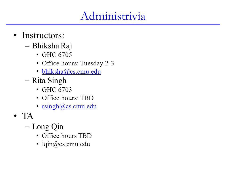 Administrivia Instructors: TA Bhiksha Raj Rita Singh Long Qin GHC 6705