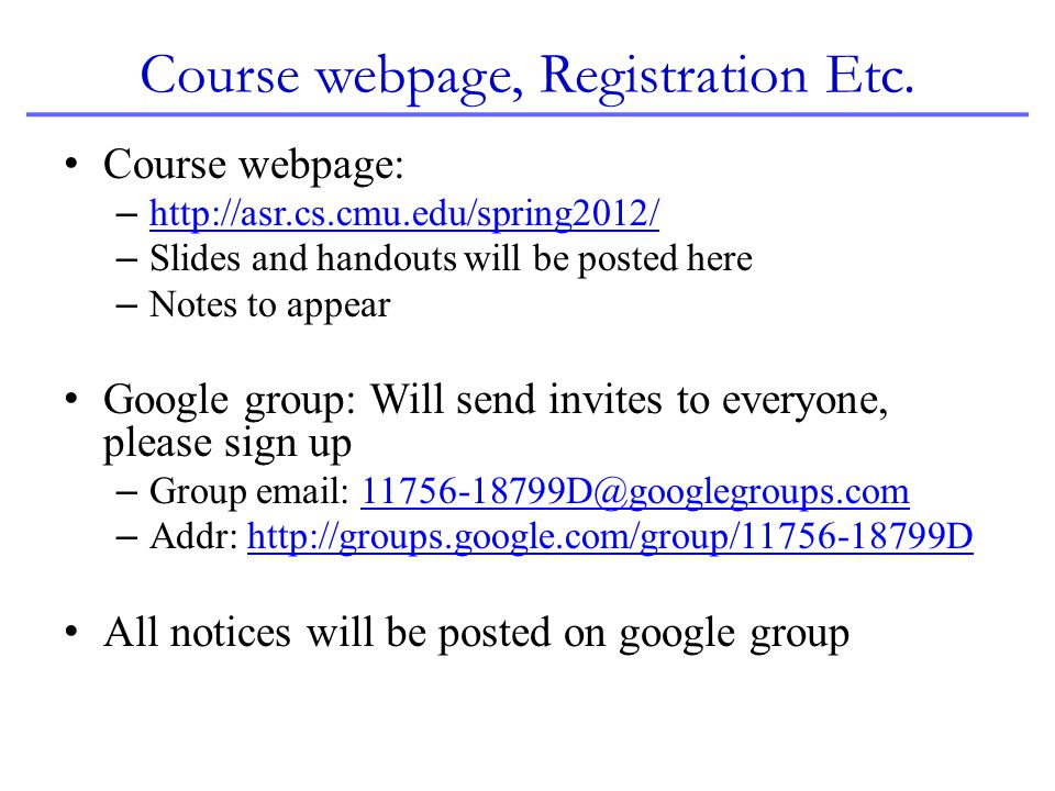 Course webpage, Registration Etc.