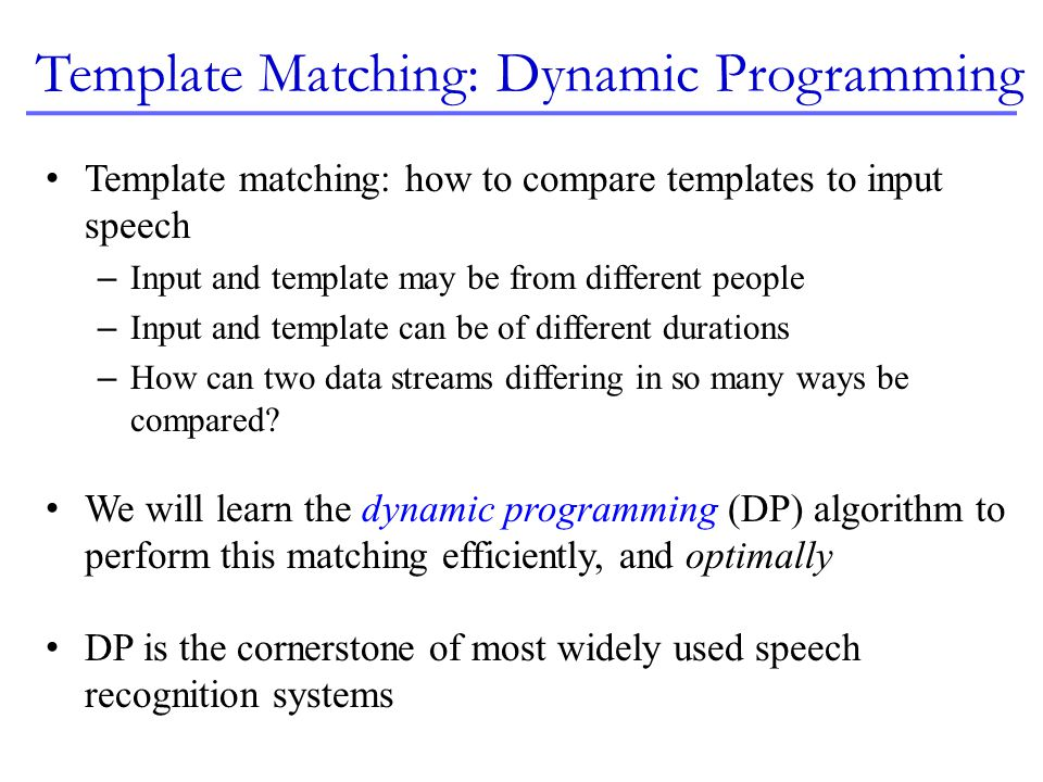 Template Matching: Dynamic Programming