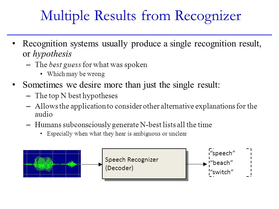 Multiple Results from Recognizer