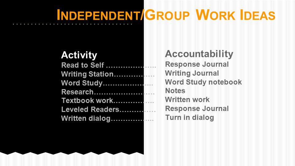 Independent/Group Work Ideas