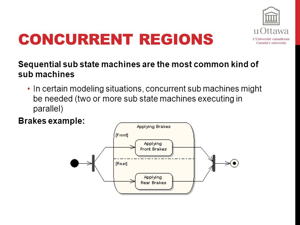 Concurrent Regions Sequential sub state machines are the most common kind of sub machines.