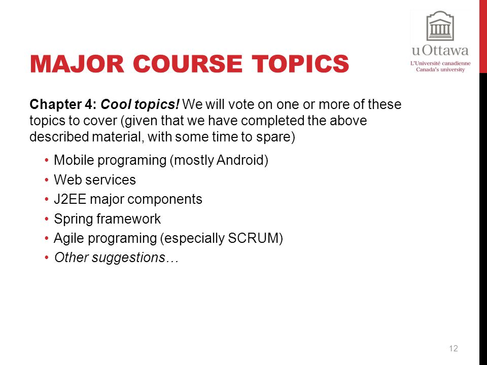 Major Course Topics