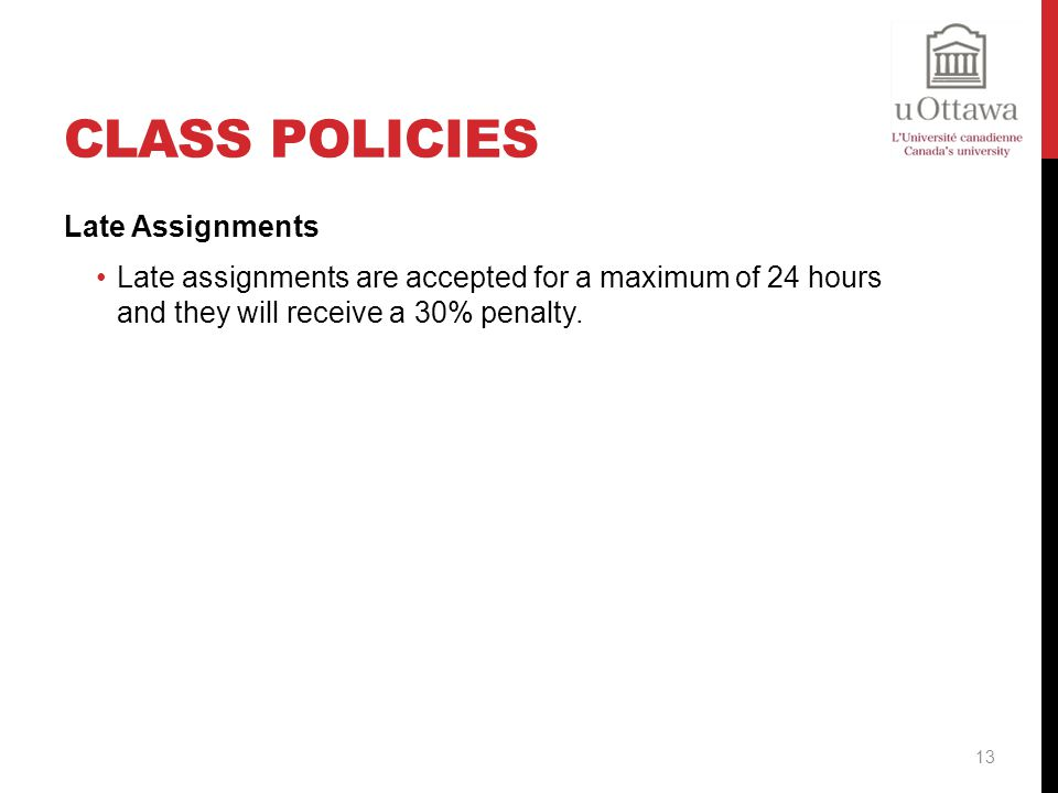 Class Policies Late Assignments