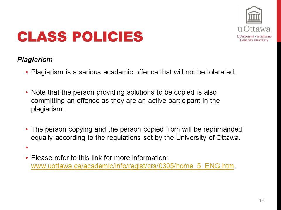 Class Policies Plagiarism