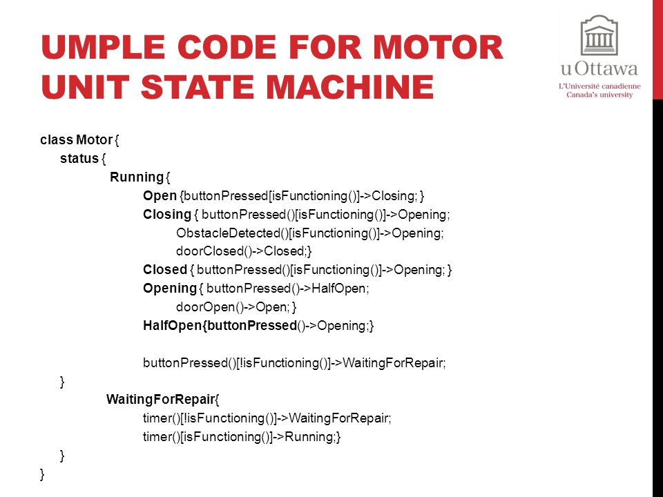 Umple Code For Motor Unit State Machine