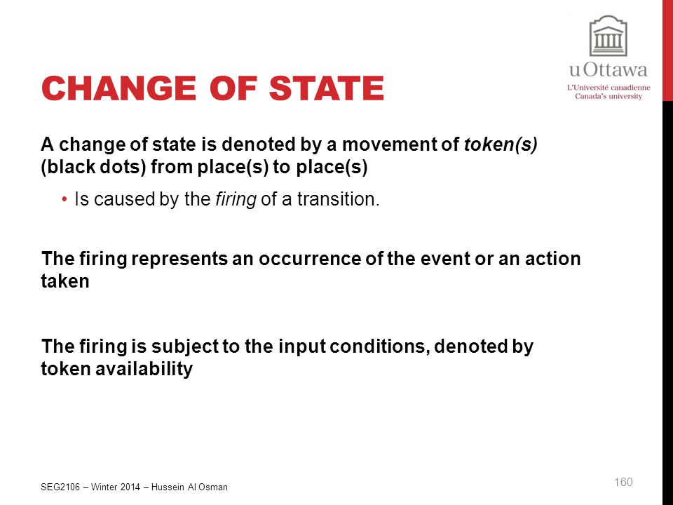Change of State A change of state is denoted by a movement of token(s) (black dots) from place(s) to place(s)