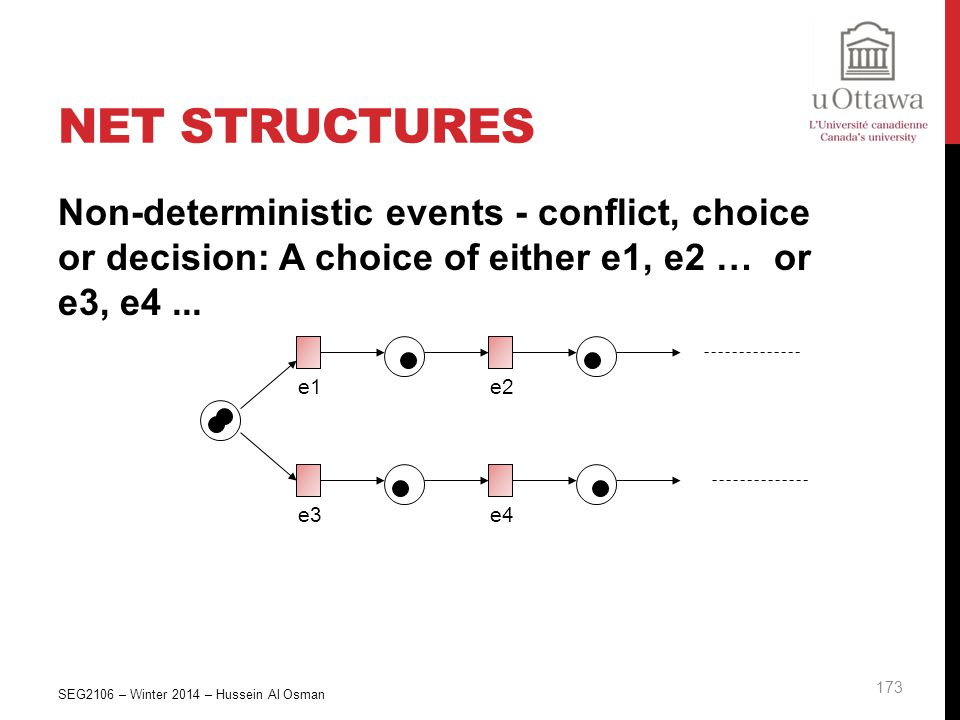 Net Structures Non-deterministic events - conflict, choice or decision: A choice of either e1, e2 … or e3, e4 ...