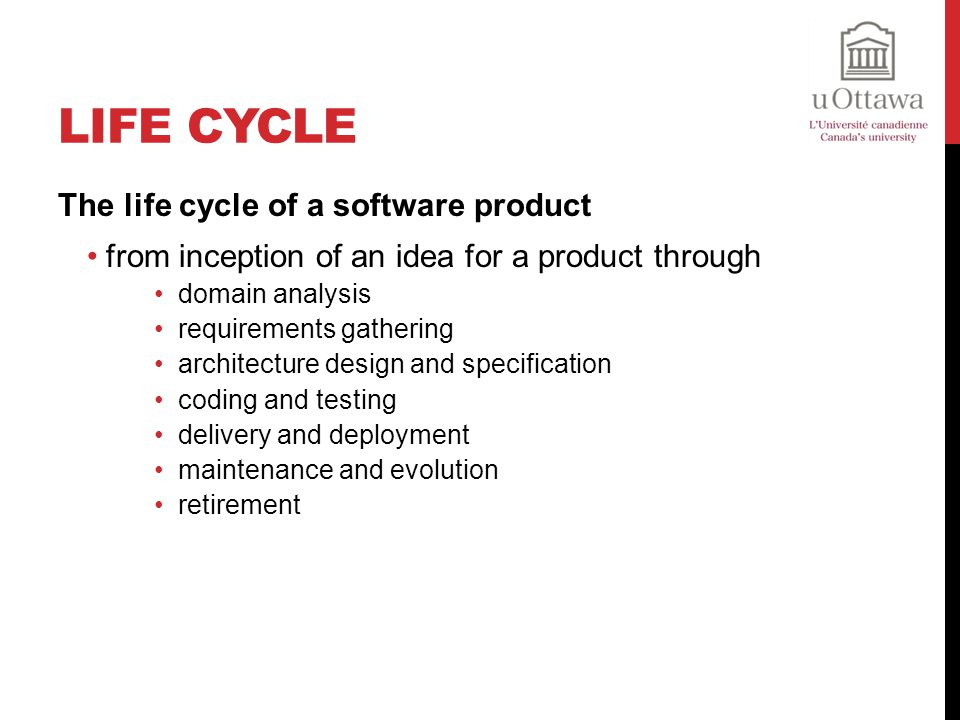 Life cycle The life cycle of a software product