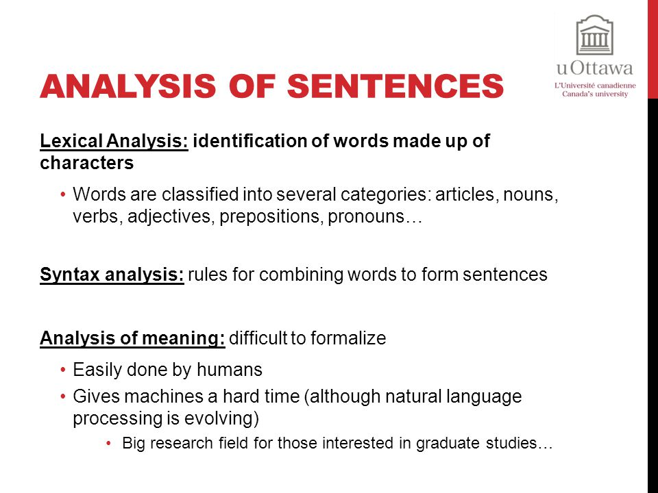 Analysis of Sentences Lexical Analysis: identification of words made up of characters.
