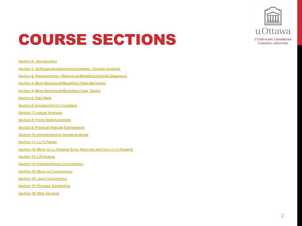 Course Sections Section 0: Introduction