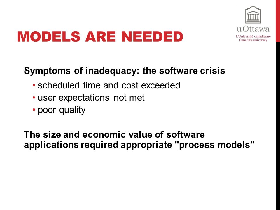 Models are needed Symptoms of inadequacy: the software crisis