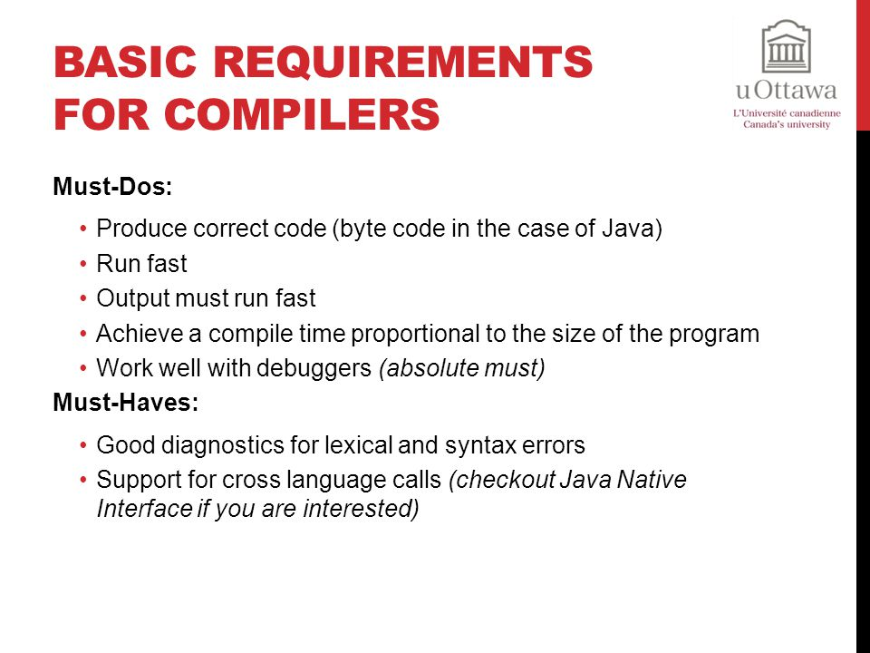Basic Requirements for Compilers