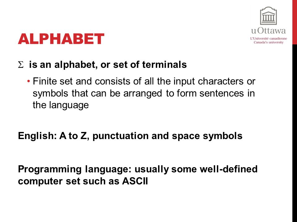 Alphabet is an alphabet, or set of terminals