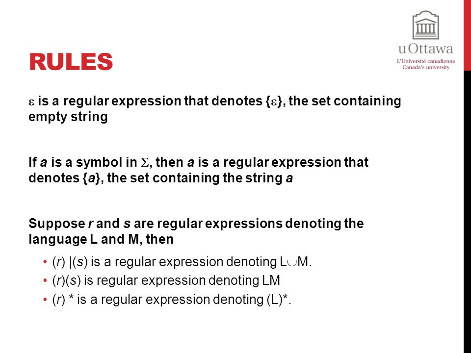 Rules  is a regular expression that denotes {}, the set containing empty string.