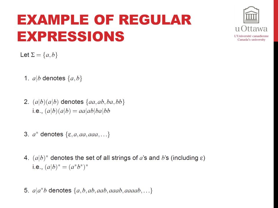 Example of Regular Expressions