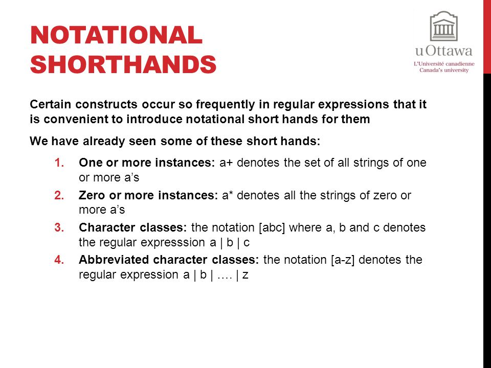 Notational Shorthands