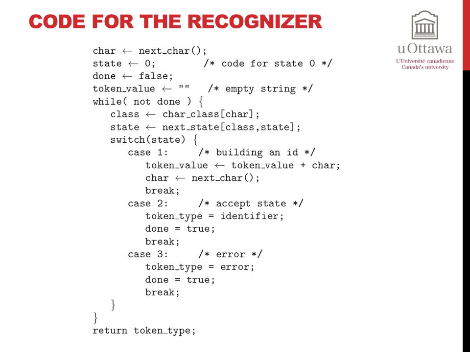 Code for the Recognizer