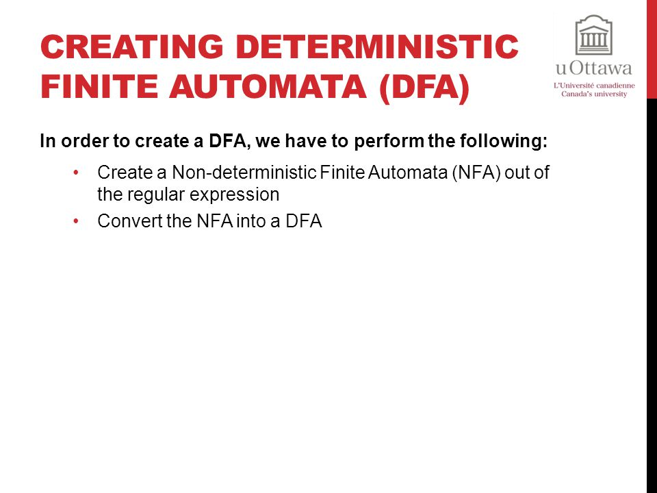 Creating Deterministic Finite Automata (DFA)