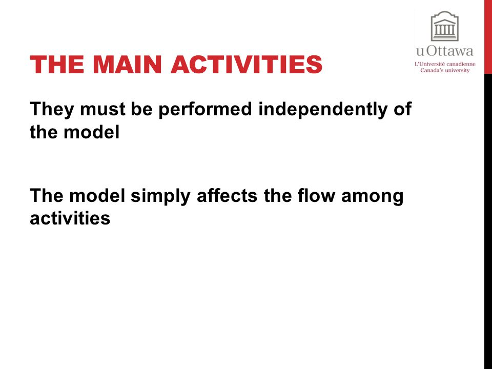 The main activities They must be performed independently of the model