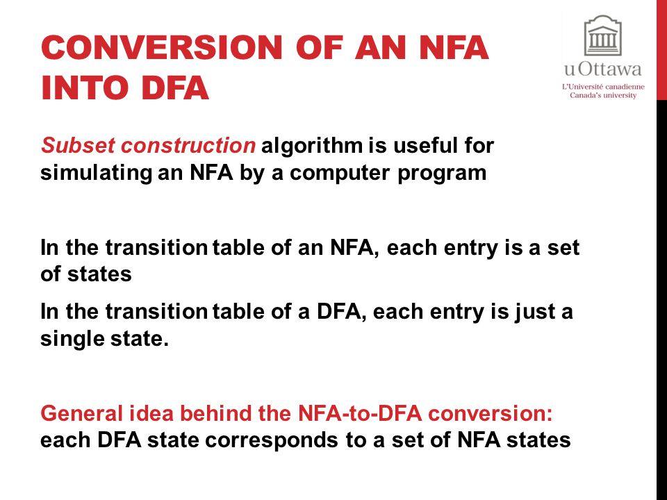 Conversion of an NFA into DFA