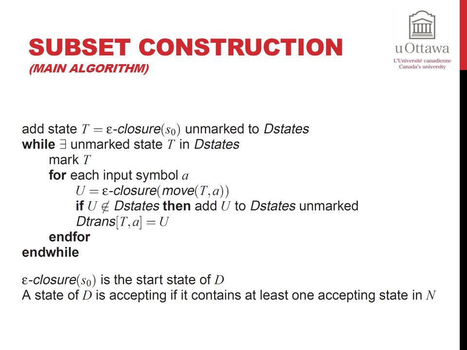 Subset Construction (Main Algorithm)