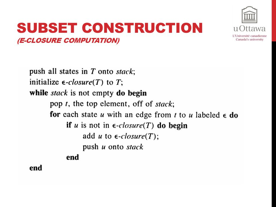 Subset Construction (ε-closure computation)