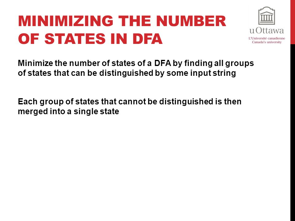 Minimizing the number of states in DFA
