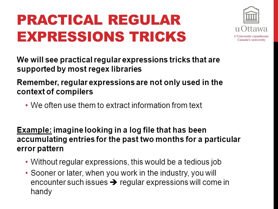 Practical Regular Expressions Tricks